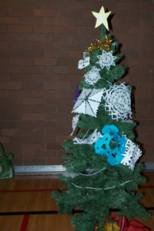 Snowflake-decorated tree