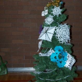Snowflake-decorated tree