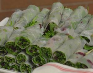 wild greens spring rolls